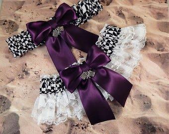 Racing Eggplant Plum Purple Satin White Lace Checkered Flag Charm Wedding Garter Bridal Toss Set