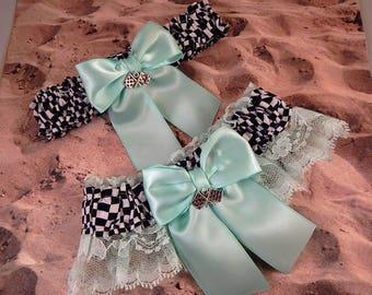 Racing Mint Green Satin Mint Green Lace Flag Charms Wedding Garter Bridal Toss Set