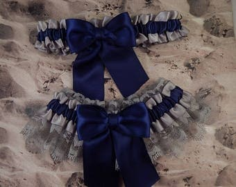Navy Blue Gray Satin Gray Lace something blue Wedding Bridal Garter Toss Set