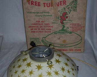 Vintage Mid Century Holly Time Revolving Christmas Tree Stand