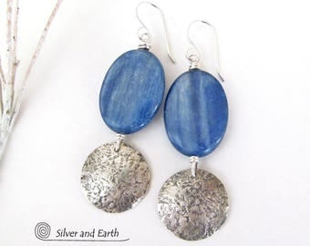 Kyanite Sterling Silver Earrings, Handmade Artisan Silver Jewelry, Blue Kyanite Earrings, Silver & Stone Jewelry, Blue Gemstone Earrings