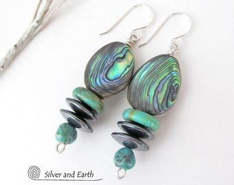Abalone Earrings, Turquoise Earrings, Paua Shell Earrings, Blue Abalone Jewelry, Stone Dangle Earrings, Unique Handmade Turquoise Jewelry