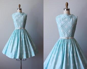 RESERVED 50s Dress - Vintage 1950s Dress - Pastel Mint Green Cotton Harlequin Novelty Print Full Skirt Sundress S - Jill of All Trades Dress