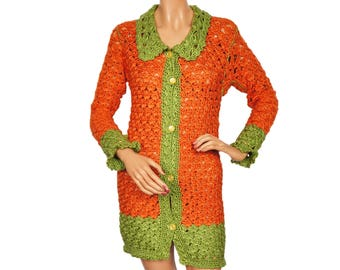 Vintage 1960s Crochet Cardigan Sweater -  Orange & Green  S