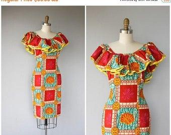 48 HR FLASH SALE Vintage 1980s Dress   80s Batik Print Dress   1970s Dress   70s Dress   1970s Batik Dress   Ethnic Print Dress   Bohemian D
