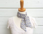Grey Floral Skinny Scarf, Head Scarf, Hair Wrap, Neck Tie for Women, Long Thin Scarf, Headband, Choker Scarf, Head Wrap, Summer Scarf