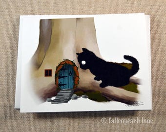 Black Cat Finds a Faerie Door - Illustrated Blank Greeting Card with Sammy the Cat