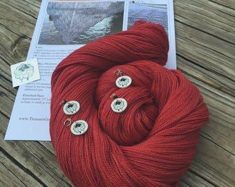Ocean In the Moonlight Shawl KIT KAL Captain Blood Red Silk Treasures Lace Yarn Pattern Stitch Markers crimson red  merino silk yarn