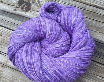 hand dyed lace weight yarn purple Silk Treasures Lace Yarn Avast ye Wildcats violet merino silk yarn semisolid yarn lilac 875 yards tonal