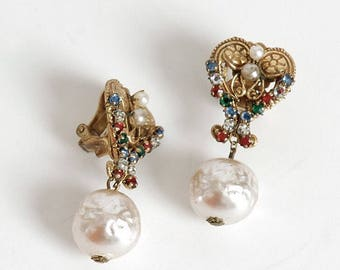 1950s vintage signed Miriam Haskell earrings * AC117