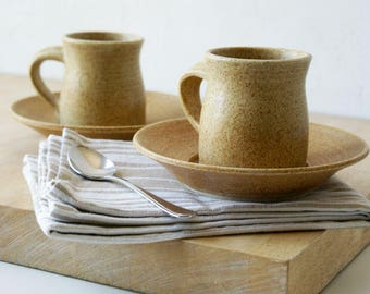 Pottery espresso cups and saucers - a handmade set of two in natural brown