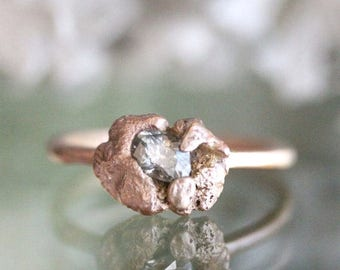 Donate To Bella - Champagne Diamond 14K Rose Gold Ring, Eco Friendly Ring, Stacking Ring, Engagement Ring, Anniversary Ring -Ship In The Nex