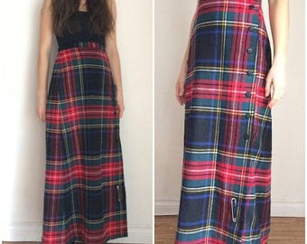 SUMMER SALE Kilt, Plaid Kilt, Long Kilt, Wool Plaid Skirt, Tartan , Red Tartan Kilt, Kilt Pin, Wool Maxi Skirt, Maxi Skirt, Button Down Skir
