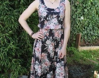 SUMMER SALE 70s Midi Dress, Sleevless Dress, Circle Skirt Dress, Black and Pink, Rose Print, Floral Dress, Secretary Dress, Minimal Dress, S