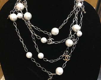 """Chanel CC logo faux pearl necklace 84"""" long with silver chain no clasp"""