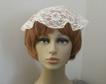 Vintage Oval Ivory Lace Church Head Covering