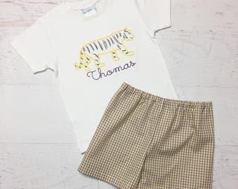 LSU Tiger Outfit - Yellow and Purple Plaid Shorts - LSU Football Shirt - Vintage Embroidered Tiger Shirt - Geaux Tigers Outfit
