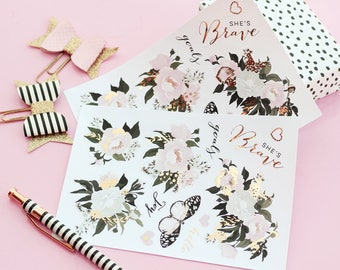 2pk planner stickers frosted flowers