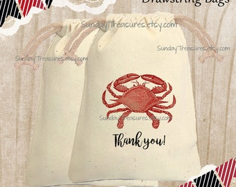 Red Crab Cotton Muslin Drawstring Favor Gift Bag / 4x6 / Crab Fest Crab Boil / Wedding Birthday Nautical / Sea Life  / 3 Day Ship
