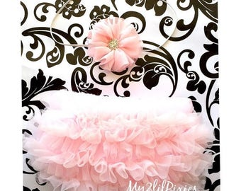 SALE Baby Girl Headband and Bloomers- Pink Chiffon ruffle Bum Baby Bloomer Diaper Cover,Newborn Photo Prop- Perfect Photo Prop
