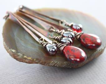 Long sticks chandelier copper earrings with rich red Czech Picasso glass drop dangles - Statement earrings - Long earrings, ER096