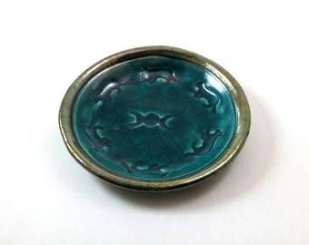 CAT  triple MOON Offering bowl Handmade Raku Pottery