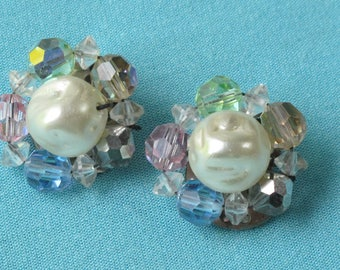 50s Earrings Faux Pearl & Pastel Faceted Crystal Clusters Pink Green Blue Topaz Silver Clip On Style Backs Vintage 1950s