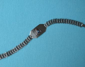 Sweetheart Bracelet WWII Dated 1943 Sterling Silver & Enamel RCAF Royal Canadian Air Force Engraved