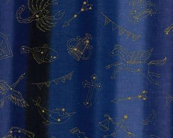 Kokka Japanese Textiles - DOUBLE GAUZE Horoscope in Blue