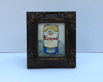 Hamm's Beer Can Miniature Framed Original Watercolor