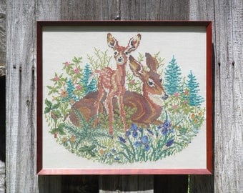 Vintage Large Framed Embroidery, Two Deer in Meadow, Cross Stitch, 1970s