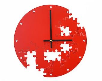 Puzzle V, Medium, Unique Wall Clock, Modern Wall Clock, Steampunk Wall Clock, Industrial Decor, Metal Art, Laser Cut, Cool Clock, Red