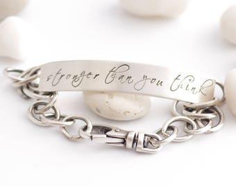 Sterling Silver Strength Inspiration ID Bracelet