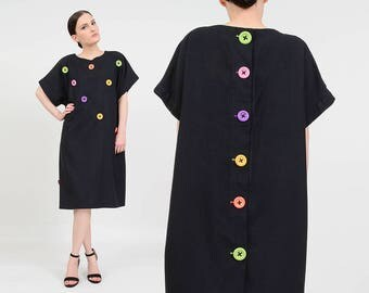 Vintage 80s Black Linen Dress   Minimalist Loose Sac Dress   MOD Rainbow Buttons   Slouchy Oversize Short Sleeve Knee Length Dress   M L