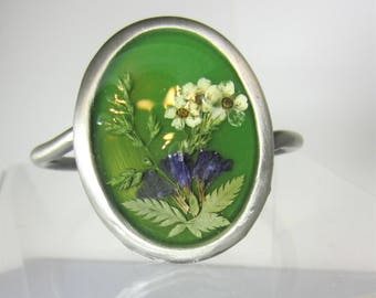 Naturally Green,  Bracelet, Adjustable, Real Flowers,Silvered  Brass, Pressed Flower Jewelry, Resin (2094)