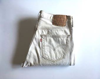 Vintage Men's 80's Levi's 501, Cream Jeans, Red Tab, Denim (W32 x L30)
