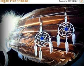 SALE LAPIS Dreamcatcher earrings, silver dream catcher earrings, boho, tribal, Native American made, boho dreamcatcher, Lapis silver jeewelr