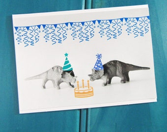 Triceratops Party Dinosaur Blank Greeting Card