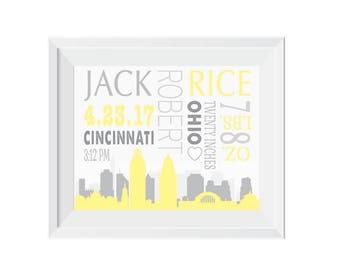 City stats etsy personalized birth print city print cincinnati nursery decor baby gift birth negle Image collections