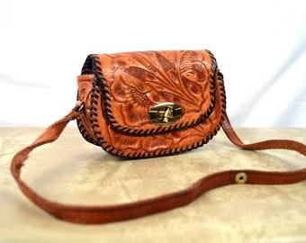 Mini Vintage Vintage Tooled Leather Kids Purse Bag