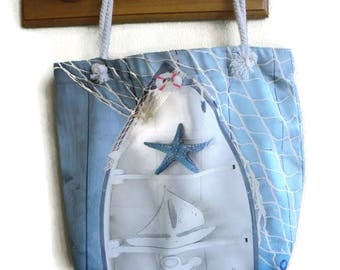 Nautical canvas tote bag with nautical decors-sea star, sailboat,anchor,beach bag- Book bag-School bag- Lined carry all tote bag