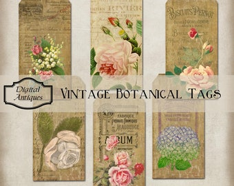 Vintage Botanical Tags Collage Sheet Digital Download