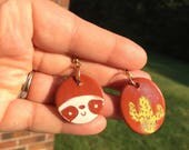 Reserved~ cactus/sloth terracotta earrings
