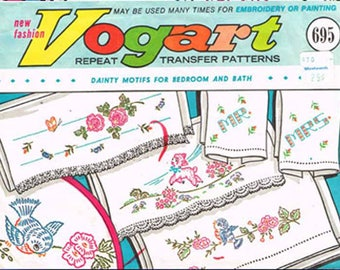 1960s Vintage Vogart Embroidery Transfer 695 Uncut Bluebirds and Lamb Pillowcase