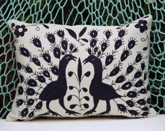 Navy blue Pillow Sham-Otomi Embroidery Ready to ship.