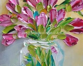 Pink tulips, Painting, gift for best friend, Art, Wall Art, Original Painting, Oil Painting, Original Artwork, canvas art
