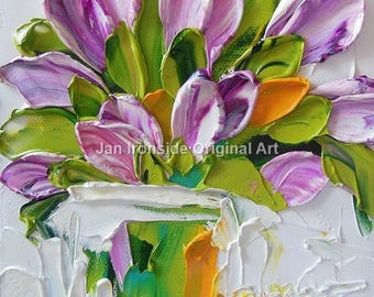 Purple Tulip  painting,  oil painting, original painting, bridal shower,  wedding