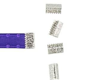 16pcs. 10mm or 3/8 inch Silver No Loop Ribbon Clamp End Crimps - Artisan Series