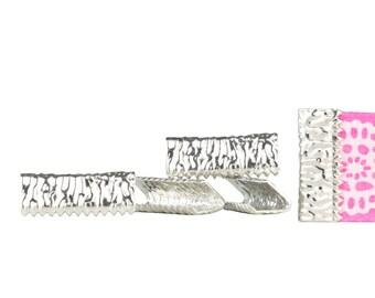 500pcs. 16mm or 5/8 inch Platinum SIlver No Loop Ribbon Clamp End Crimps - Artisan Series