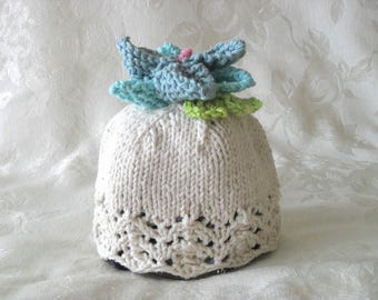 Baby Hats Knitting Knitted Baby Cloche with Flower on top Knitted Baby Beanie  Children Clothing Knitted Lace Baby Hat Children Clothing